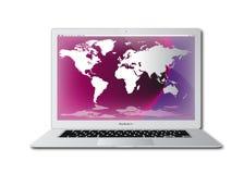 Computador superior de regaço do ar do macbook de Apple Foto de Stock Royalty Free