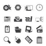 Computador, telefone celular e Internet da silhueta Fotografia de Stock Royalty Free