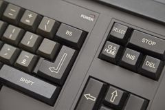 Computador velho - detalhe do teclado imagens de stock royalty free