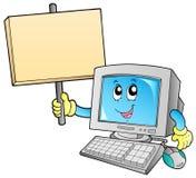 Computadora de escritorio con la tarjeta en blanco Fotografía de archivo