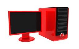 Computadora de escritorio roja aislada stock de ilustración