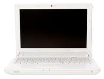 Computadora portátil abierta del blanco Foto de archivo