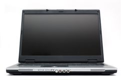 Computadora portátil aislada en blanco Imágenes de archivo libres de regalías