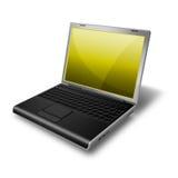 Computadora portátil, amarillo del cuaderno Fotografía de archivo libre de regalías