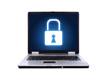 Computadora portátil bloqueada Imagen de archivo libre de regalías