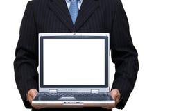 Computadora portátil con área de la copia en la pantalla Imagen de archivo