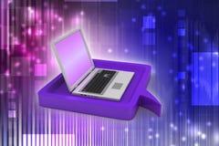 Computadora portátil con la burbuja del discurso Foto de archivo libre de regalías