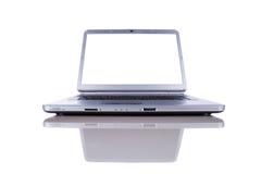 Computadora portátil con la pantalla del espacio de la copia foto de archivo