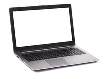 Computadora portátil con la pantalla en blanco blanca Foto de archivo libre de regalías
