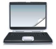 Computadora portátil con la pantalla que se encrespa creativa stock de ilustración