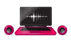 Computadora portátil con los altavoces, música en línea Fotos de archivo