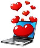 Computadora portátil con los corazones Stock de ilustración