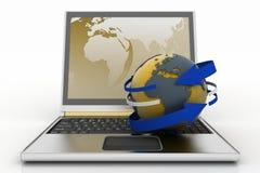 Computadora portátil con tierra y la flecha Concepto del Internet Imagen de archivo libre de regalías
