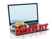 computadora portátil 3d Concepto de la entrega de la comida en línea y de Internet Imagen de archivo libre de regalías