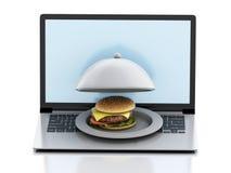 computadora portátil 3d Concepto de la entrega de la comida en línea y de Internet Foto de archivo libre de regalías