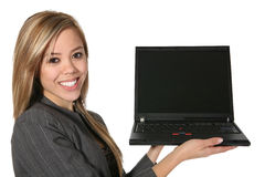 Computadora portátil de la explotación agrícola de la mujer Foto de archivo