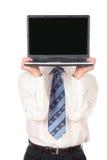 Computadora portátil de la explotación agrícola del hombre de negocios Foto de archivo libre de regalías