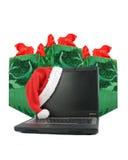 Computadora portátil de la Navidad imagen de archivo