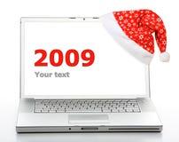Computadora portátil de la Navidad Imagenes de archivo