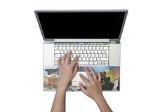 Computadora portátil de plata aislada en el fondo blanco Fotografía de archivo libre de regalías