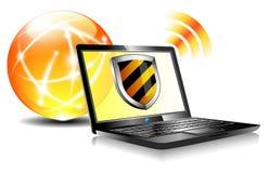 Computadora portátil del antivirus de la protección del Internet del blindaje Imagen de archivo