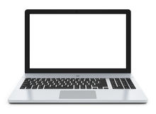 Computadora portátil del metal con la pantalla en blanco Imagen de archivo