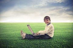 Computadora portátil del niño Imagen de archivo