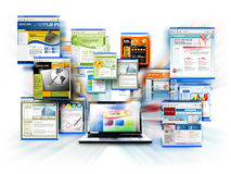 Computadora portátil del ordenador del Web site del Internet
