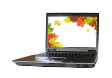 Computadora portátil del otoño Imagen de archivo libre de regalías