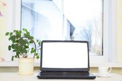 Computadora portátil en el vector Foto de archivo libre de regalías