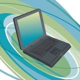 Computadora portátil en fondo oval Fotos de archivo