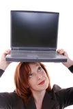 Computadora portátil en tapa fotos de archivo libres de regalías