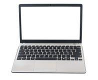 Computadora portátil en un fondo blanco imagenes de archivo