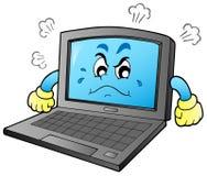 Computadora portátil enojada de la historieta Fotos de archivo libres de regalías