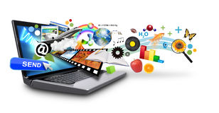 Computadora portátil multi del Internet de los media con los objetos Fotografía de archivo libre de regalías