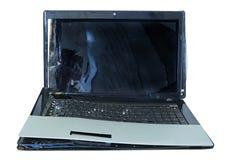 Computadora portátil quebrada Imagen de archivo libre de regalías