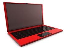 Computadora portátil roja Imagen de archivo