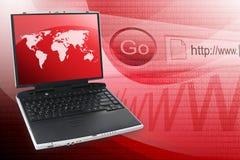 Computadora portátil roja del ordenador del Internet Fotos de archivo