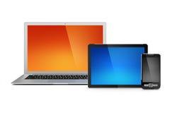 Computadora portátil, tablilla y teléfono móvil Imagen de archivo libre de regalías