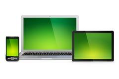 Computadora portátil, tablilla y teléfono móvil Fotografía de archivo