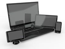 Computadora portátil, teléfono móvil, PC de la tablilla y gps. 3d ilustración del vector