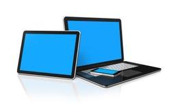 Computadora portátil, teléfono móvil y PC digital de la tablilla Fotos de archivo libres de regalías