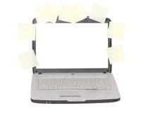 Computadora portátil. Visualización en blanco. Stikers alrededor de la visualización. fotos de archivo