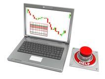Computadora portátil y botón de la ayuda Fotos de archivo libres de regalías
