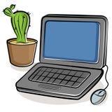 Computadora portátil y cacto verde Fotos de archivo libres de regalías