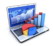 Computadora portátil y diagrama Foto de archivo libre de regalías