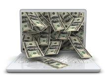 Computadora portátil y dinero blancos Imagen de archivo libre de regalías