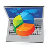 Computadora portátil y gráfico circular libre illustration
