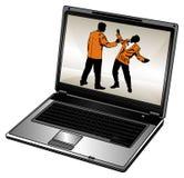 Ordenador portátil y hombre de negocios foto de archivo libre de regalías