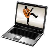 Computadora portátil y hombre de negocios Foto de archivo